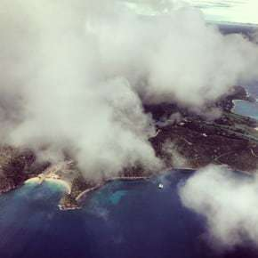 Flying from Bequia to Union Island