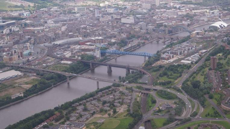 Newcastle bridges arial view