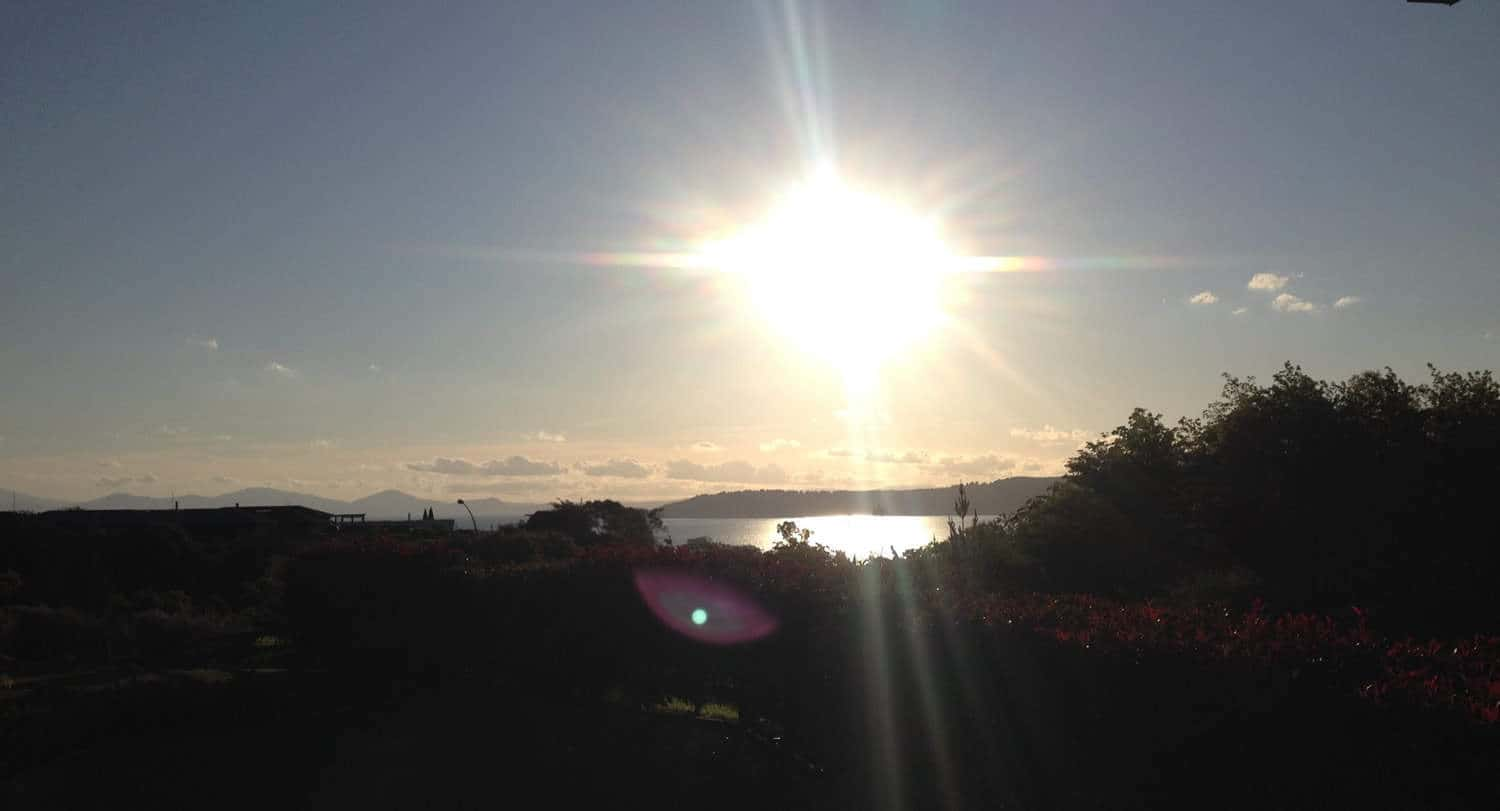 Sunset over lake taupo